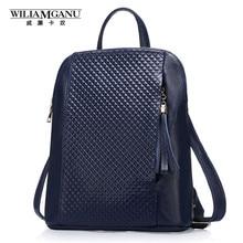 Wiliamganu натуральная кожа женские рюкзаки модные женские сумки плед в полоску стиль плеча рюкзак для девочек цвет: черный, синий 0718