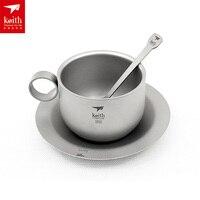 Keith Ultralight 150ML Titanium Tea sets Coffee Cup Portable Titanium Outdoor Water Coffee Mug with Pot Spoon Set Ti3601