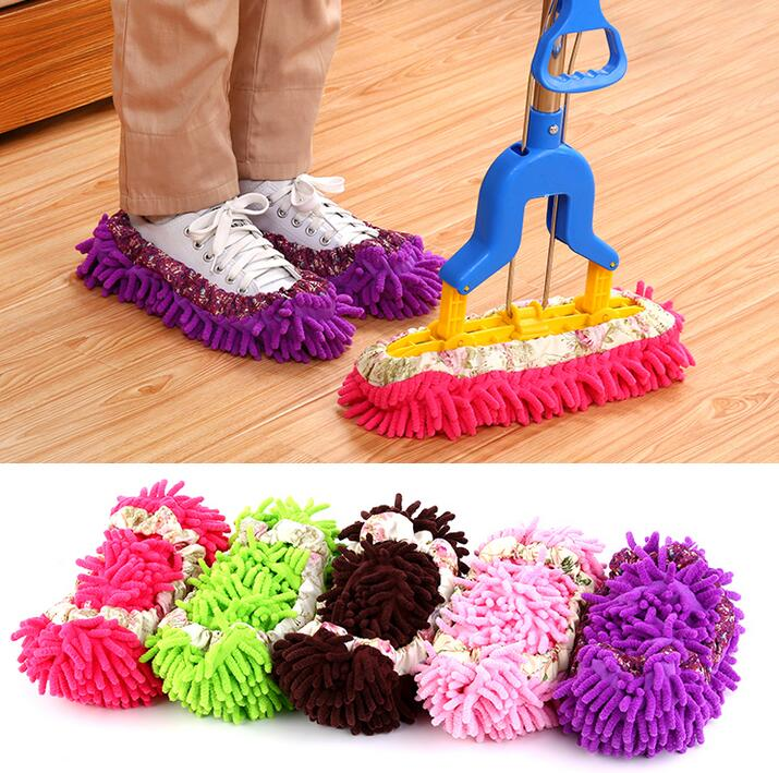 2PCS Multifunctional shoe covers clean slippers lazy drag mop caps Dust Cleaner House Bathroom Floor Shoes Cleaning Mop