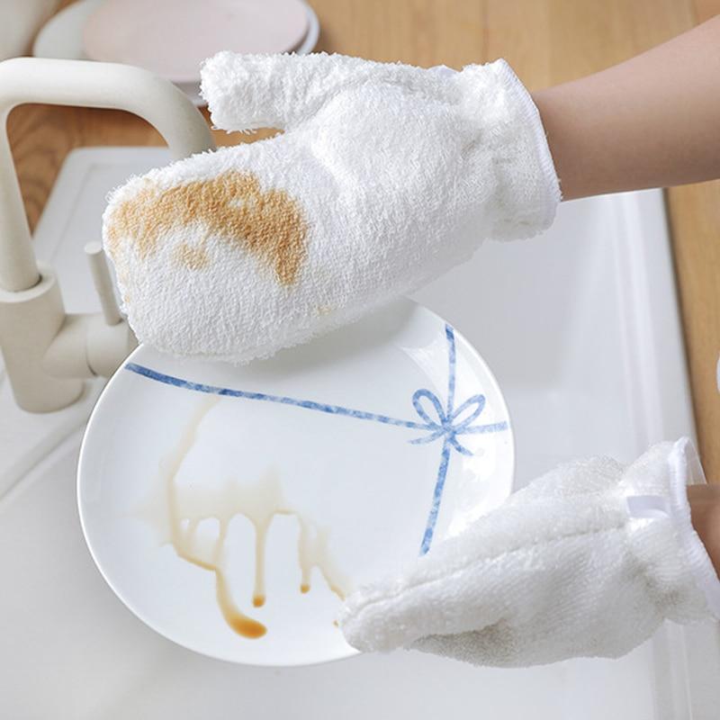 1 Paar Bambus Faser Dish Waschen Handschuhe Haushalt Wasserdichte Fett Proofing Starke Dekontamination Küche Handschuhe