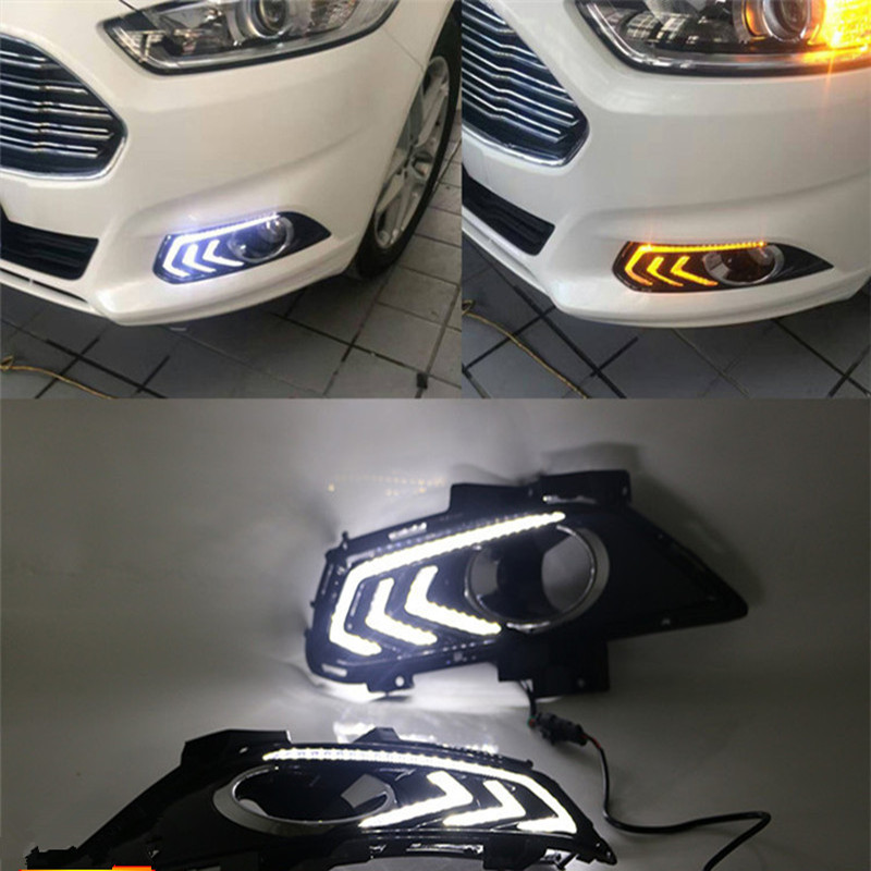 SNCN LED Daytime Running Light For Ford Fusion Mondeo 2013 - 2016,Car Accessories Waterproof ABS 12V DRL Fog Lamp Decoration eonstime 2pcs 12v car drl led daytime running light fog lights for ford mondeo fusion 2013 2014 2015 2016 car styling