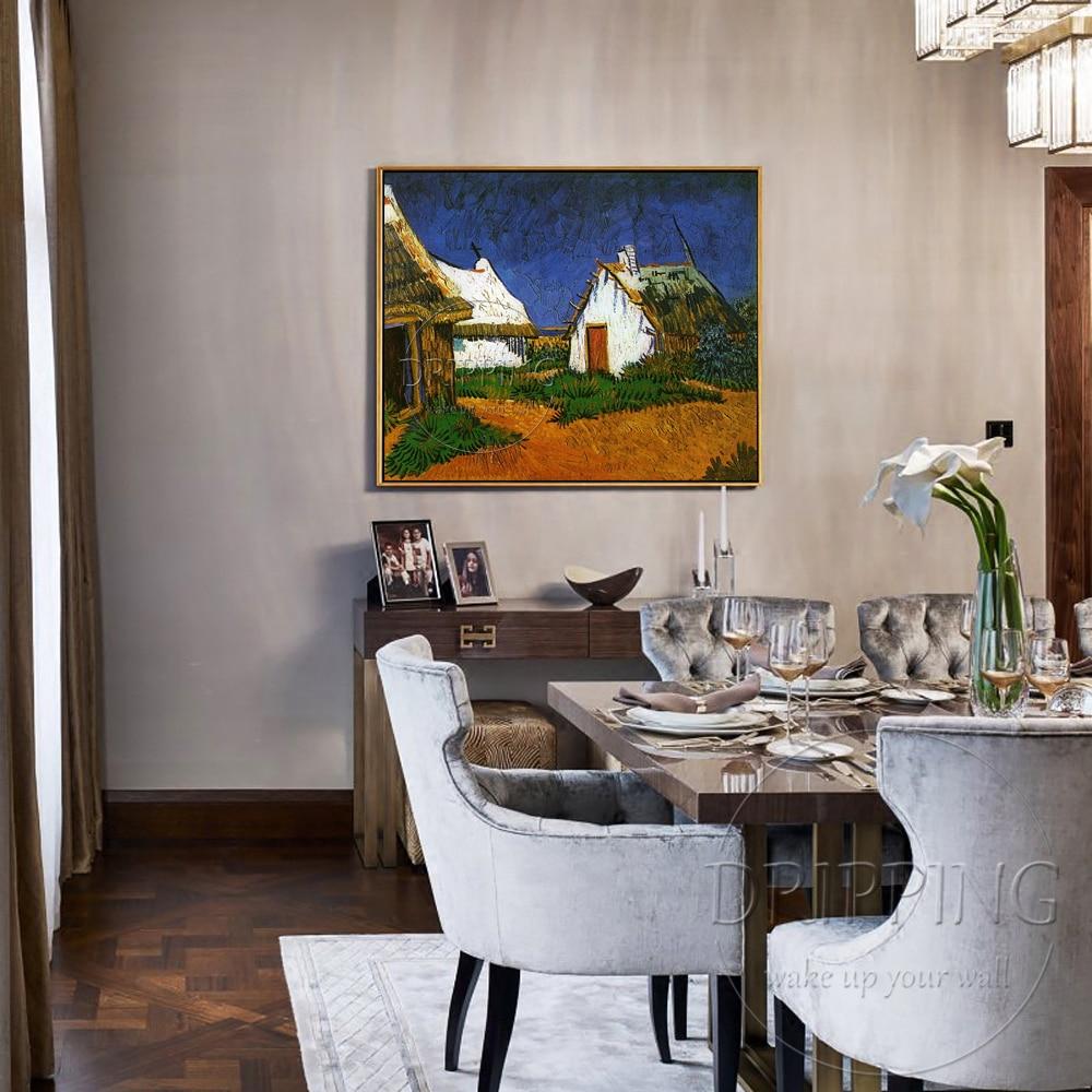 Begaafde Kunstenaar Reproduceren Van Gogh 1888's Art Olieverf handgeschilderde Drie Witte Cottages in Saintes Maries Olieverf-in Schilderij & Schoonschrift van Huis & Tuin op  Groep 2