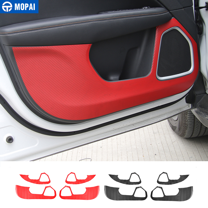 MOPAI Carbon Fiber Sticker Car Interior Door Anti Kick Stickers Decoration Protective For Jeep Compass 2017 Up Car Styling mopai new arrival car exterior rear triangle glass decoration cover stickers for jeep compass 2017 up car styling