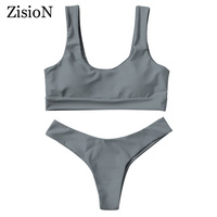 ZisioN New Bikini Set 2017 Swimwear Women Solid Halter Swimsuit Bathing Suit Sexy Bikinis Push Up