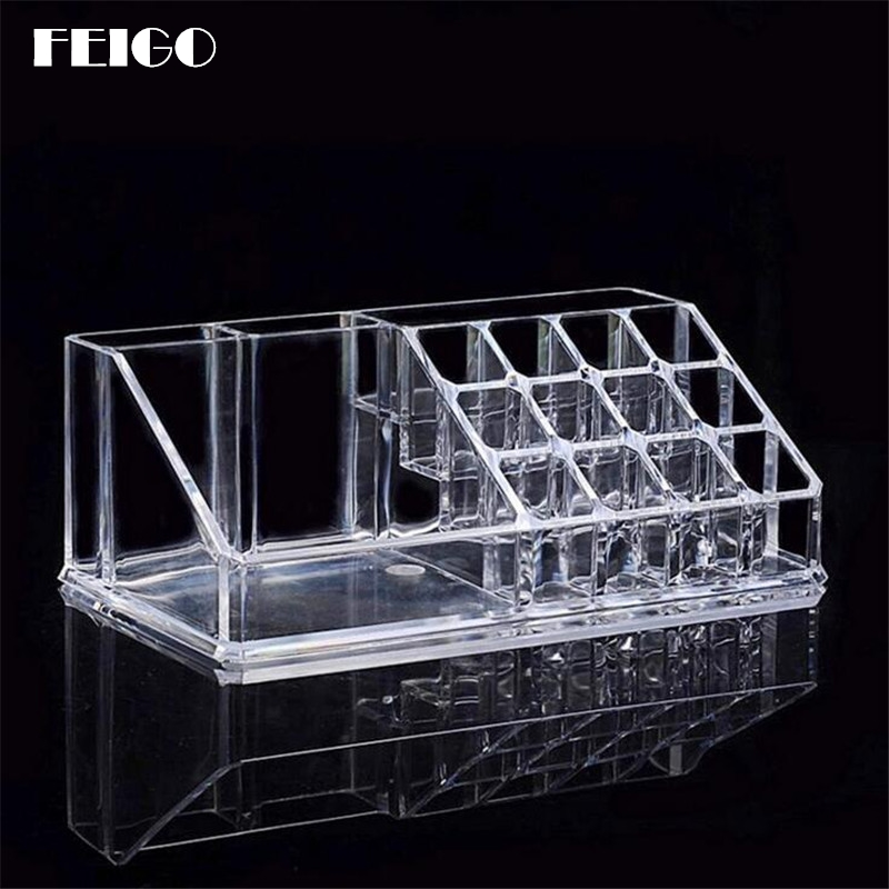 FEIGO Fashion Clear Makeup Organizer Storage Box Jewelry Container Organizer For Cosmetic Storage Box Case Paper Package F704