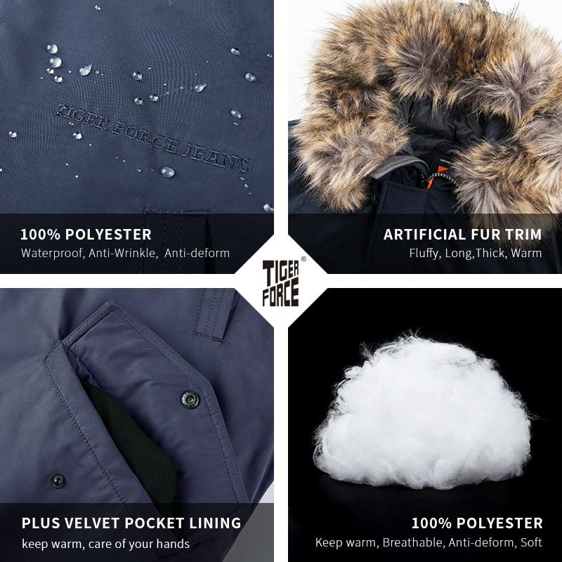 Image 4 - TIGER FORCE Winter Jacket Men Padded Parka Russia Man Winter Coat Artificial Fur Big Pockets Medium long Thick Parkas Snowjacket-in Parkas from Men's Clothing