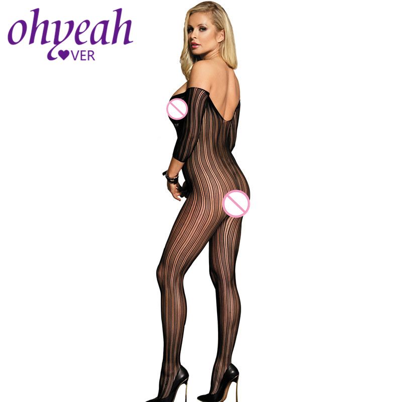 Ohyeahlover Body Suits for Women Body Encaje Mujer Body Dentelle Body Stockings for Women HM3140 Black Plus Size Bodystocking