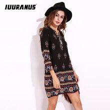 IUURANUS Ethnic Retro Style Women Short Shift Dress soft Long Sleeve Casual Vintage Flower Print Dress недорого