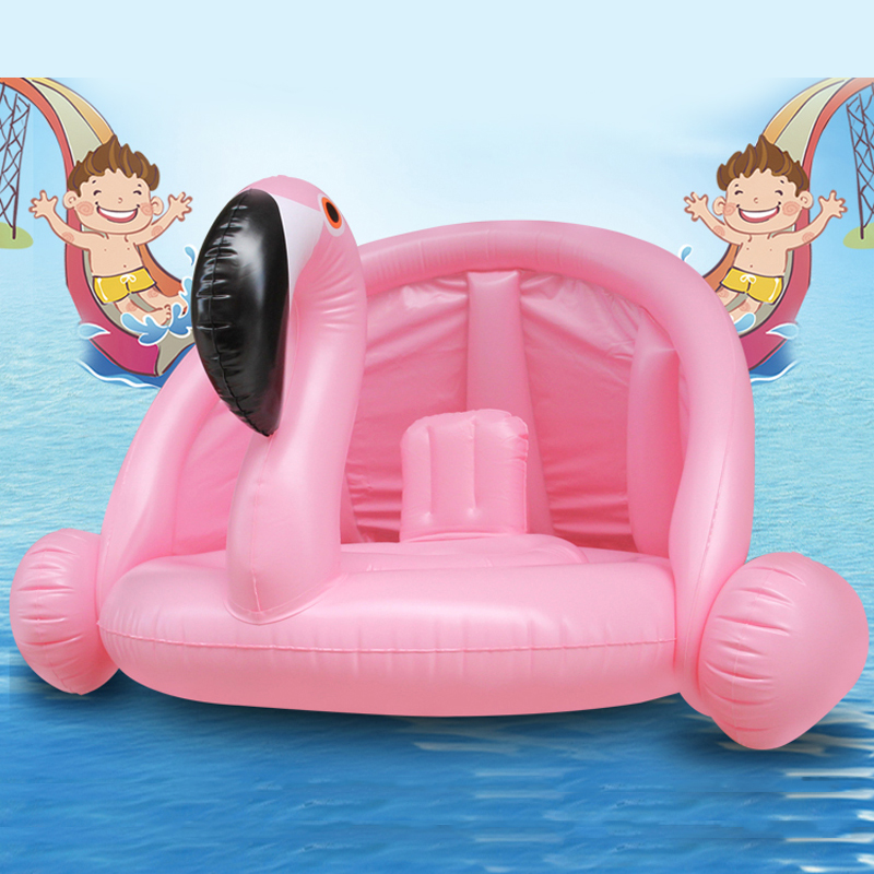 YUYU NEW Baby Pool Float with Awning Inflatable Flamingo Swan Swimming Float baby Seat Float Summer Water Fun Pool Swimming ring