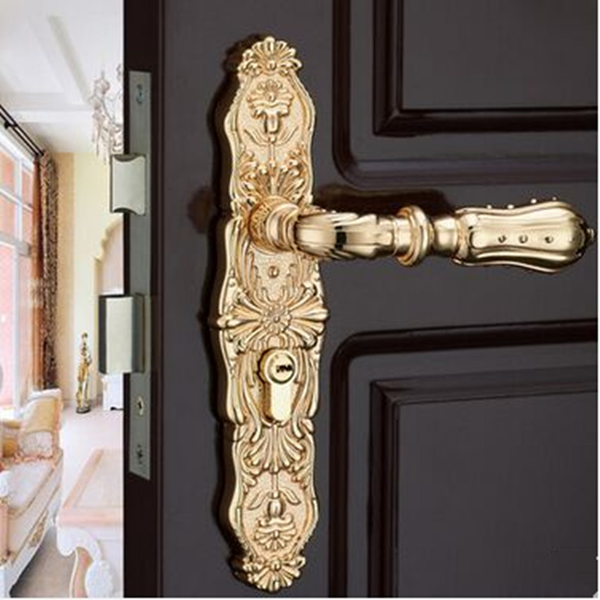 Modern fashion deluxe solid gold wooden lock , ivory white bedroon kitchen bookroom bathroom indoor lock Top quality bronze lock european fashion ivory white bedroon door handles antique bronze mute wooden door lock gold indoor locks modern simple