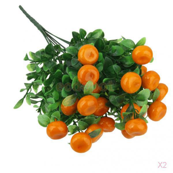 2x Artificial Orange Tree 7-Branch Lucky Fruit Orange Bunch Fake Plant for Home Garden DIY Decor