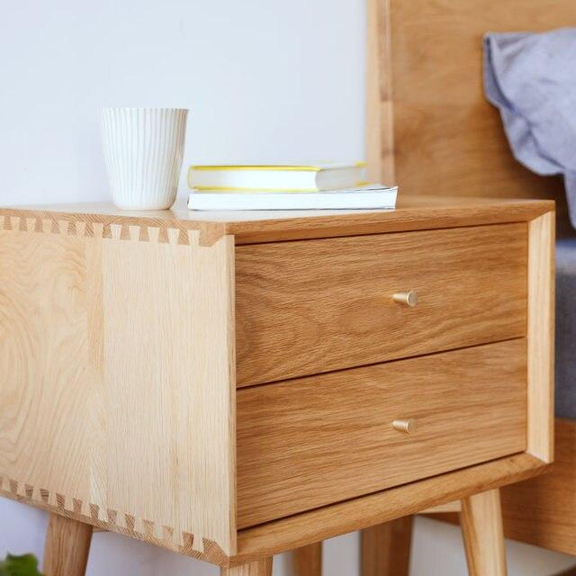 Japanese White Oak Wood Nightstand Simple Modern Bedroom Furniture Cabinet Drawer Bucket Nordic