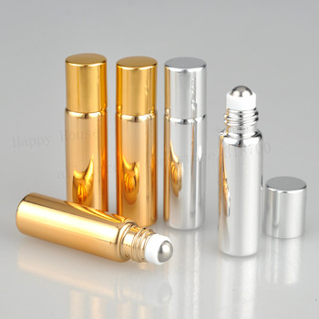 100pcs x 5ml UV Gold Silver Glass Roll On perfume bottle with Metal Roller Ball 5 cc Cosmetic Essential Oil Roller on containers