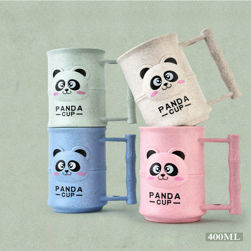 Plastic Creative Cartoon Lovely Panda Gargle Cup Teacup Coffee Cup Wash Cup Household Brushing Cup Summer Cool Drink