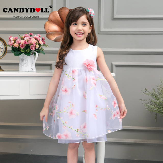 Flowermodels Candy Dolls Illusion: Candydoll Girls Dress Children Girls White Dress Fashion