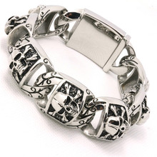 20 mm Guarantee 100% Mens Boys 316L Stainless Steel Cool Punk Gothic Cross Pirate Skull Links New Bracelet