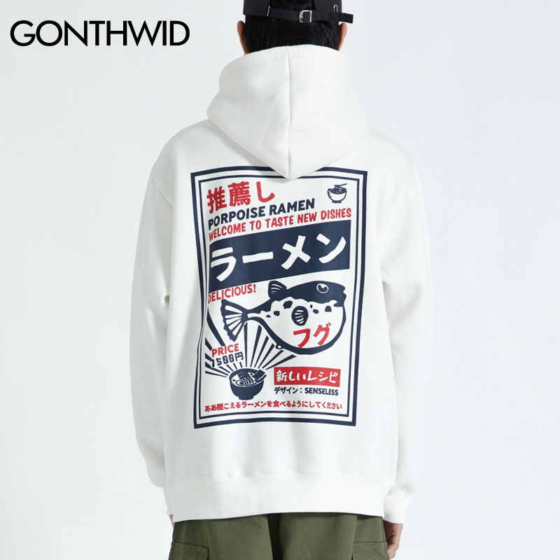 GONTHWID Puffer Fish Ramen Print Fleece Hoodies Hip Hop Casual Pullover Hooded Sweatshirt Men Harajuku Casual Fashion Streetwear