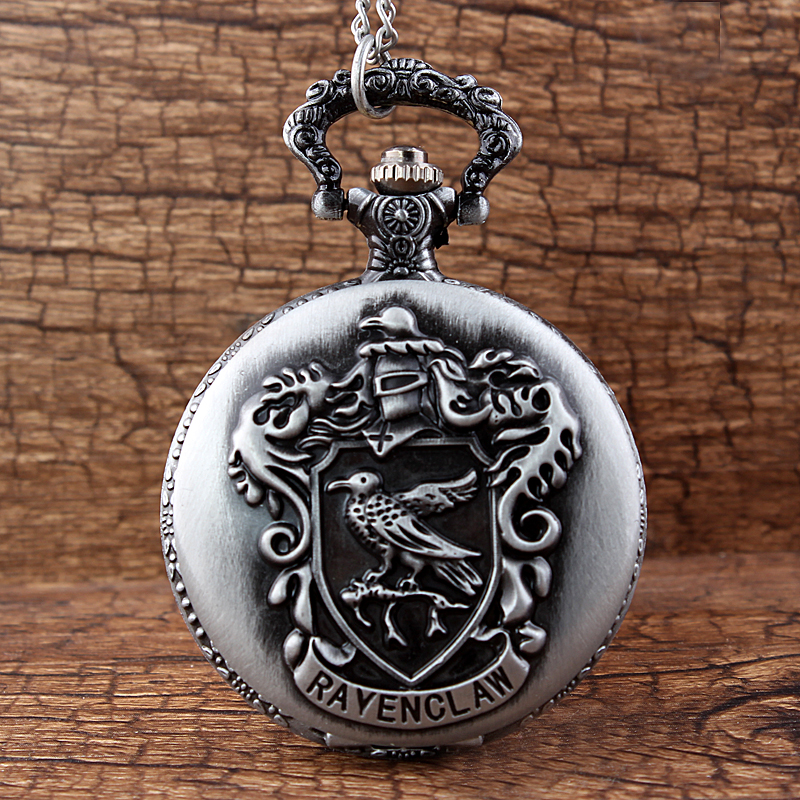 Gorben Antique Full Metal Steampunk Alchemist Cosplay Rayenclaw Quartz Pocket Watch Silver Black Chain Pendants Watch Women Men