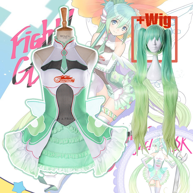 [Customize] +Wig Anime Vocaloid Figure Miku Racing Suit SJ Uniform Dress Cosplay costume Halloween Costume for women Free shippi