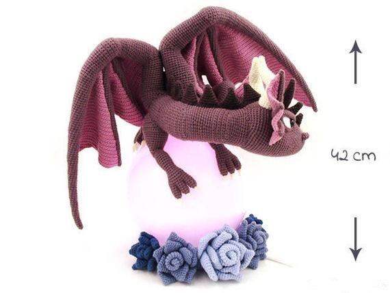 Crochê brinquedos amigurumi dragão modelo número b01