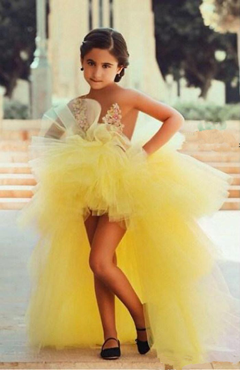 Yellow Illusion Sheer Tops with Appliques Tulle Flower Girl Dresses for Weddings Party Custom Made