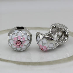 185b3bd9a 2 style peach blossom Clip Lock Round DIY European Spacer Metal Bead Fit  For Pandora Bracelet beads