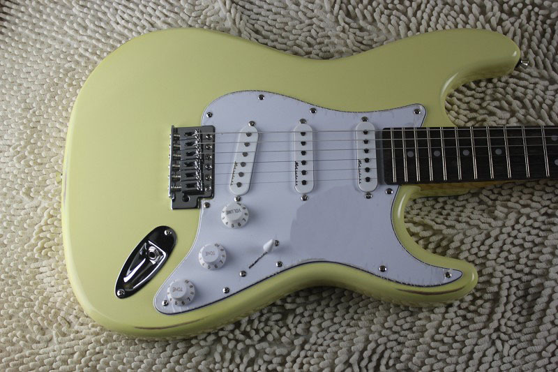 Free Shipping factory custom Top Quality New rosewood fretboard stratocaster Cream yellow Electric Guitar 510 . free shipping chinese factory custom 2017 100