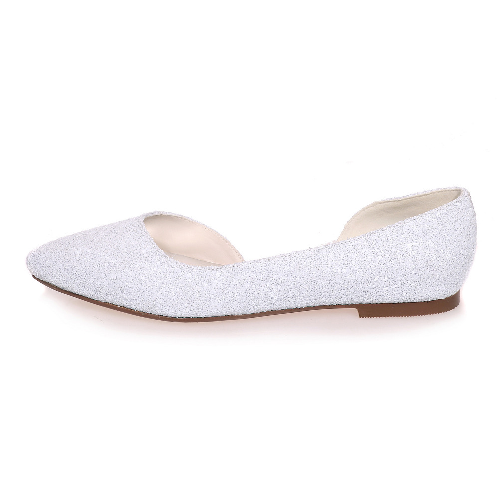 c8594b9ddd Creativesugar Elegant 3D glitter pointed toe white ivory D'orsay flats  woman Casual wedding bridal shoes party prom slip on flat-in Women's Flats  from ...
