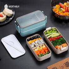 Caja de almuerzo para niños, caja de paja de trigo, caja de microondas japonesa, a prueba de fugas, caja de almuerzo Bento para niños, comida escolar contenedor