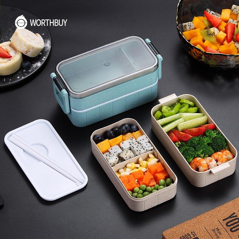WORTHBUY 일본 전자 레인지 도시락 상자 밀짚 어린이 도시락 상자 누출 방지 도시락 도시락 상자 어린이 학교 식품 용기