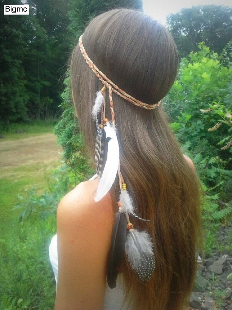 New Women Feather Headband Peacock Feather Bohemian Indian Bride Headband belt Wooden Beads Twieted Hair Band Hair Jewelry A5023