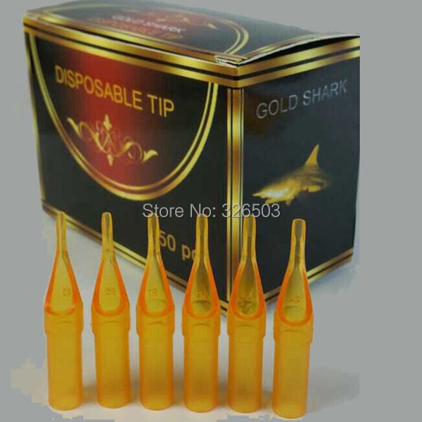 500PCS You Pick Sizes Gold Shark Disposable Tattoo Sterile Tips Nozzle Supply GSDT A 500