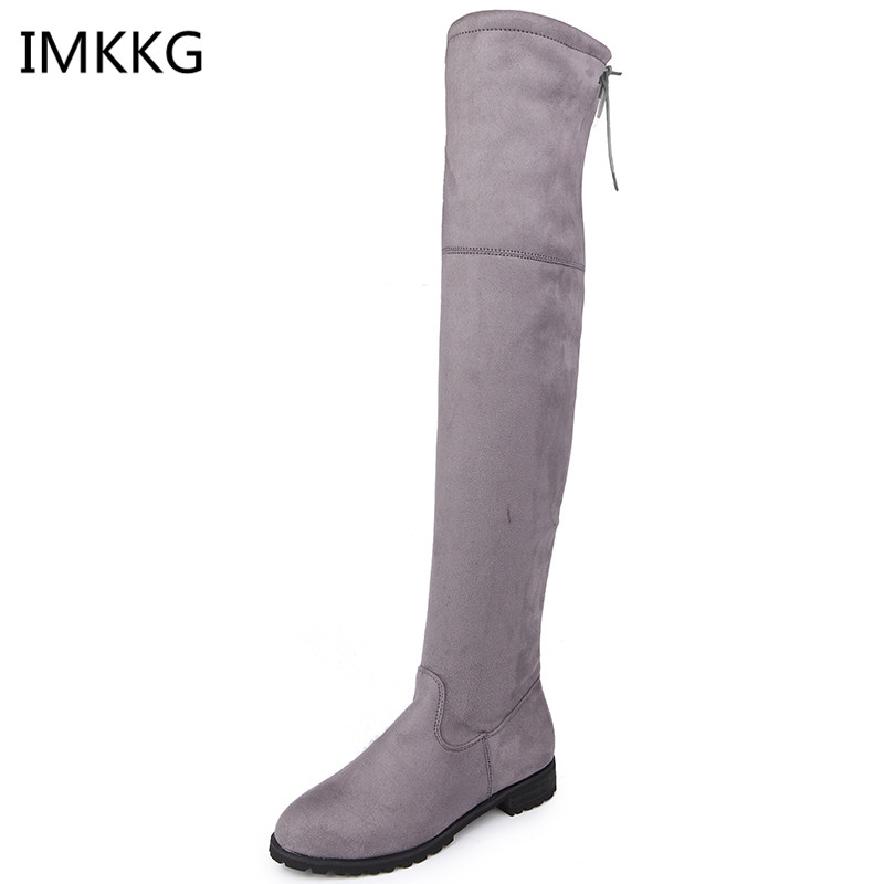 cda5a3d55d Nieve Invierno gris rojo Altas Para Sobre Negro De Botas Rodilla Zapatos  Mujer Moda 2018 Ajustadas ...