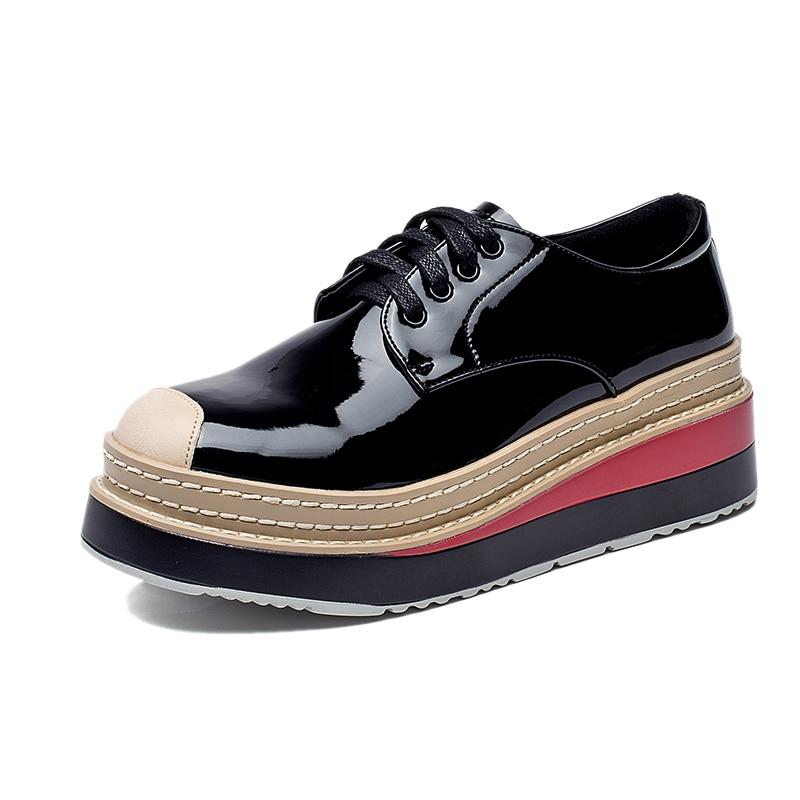 De Femmes Chaussures Tendance Hauteur Lacets Cuir Sling En Nouvelle Cm Black 5 Semelles Épaisses Plateforme Creeper Verni À wn6Y6xra