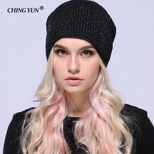 Image 3 - CHING YUN chapeau de tête de cheval tricoté pour femmes, chapeau chaud en laine, bonnet tricoté en cachemire, doublure duveteuse, fil plaqué argent, hiver, 2018