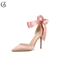 Купить с кэшбэком GOXEOU 2019 Women Pumps Thin Heel High Heels Sexy Pointed Toe Slip-On Silk Wedding Office Riband Free shipping size 32-46