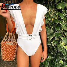 лучшая цена Sexy One Piece Swimsuit Tie Deep V Thong Swimwear Women Off Shoulder Ruffle Backless Bathing Suit Monokini Maillot De Bain Femme
