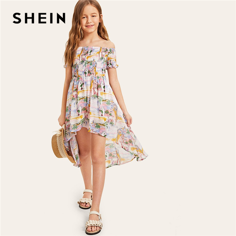 SHEIN Kiddie Landscape Print Shirred Bodice Dip Hem Off the Shoulder Boho Girl Dress 2019 Summer Holiday Beach Girls Dresses chevron cut eyelash lace hem dress