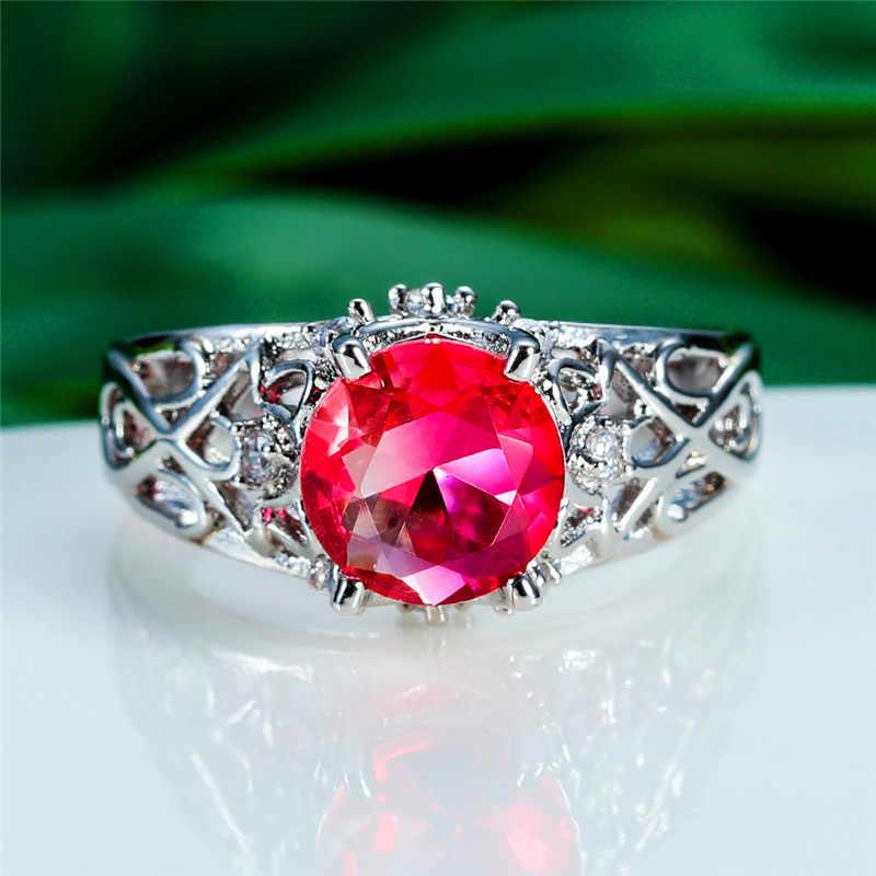 2019 แฟชั่นผู้หญิงคริสตัล Rainbow แหวนเงิน 925 สีแดงสีเขียวหินงานแต่งงานแหวนเปลี่ยนสีรักหมั้นแหวน