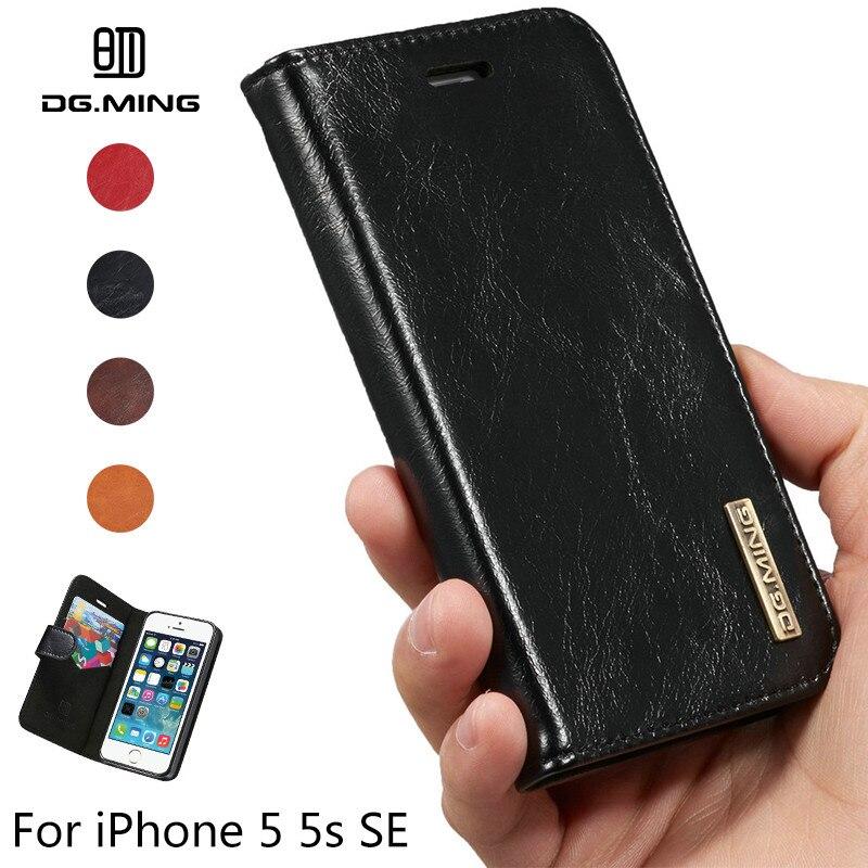 DG. ming Пояса из натуральной кожи чехол для iPhone 5 5S SE съемная 2 в 1 Подставка и держатель карты магниты задняя крышка для apple iPhone SE
