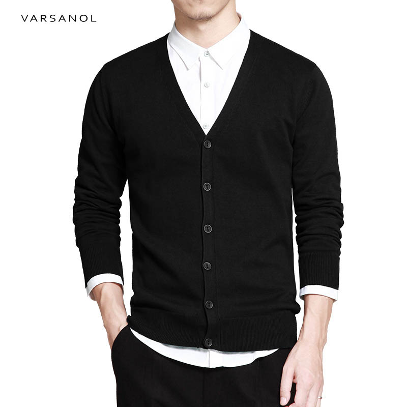 Varsnaol New Brand Sweater Men V-Neck Solid Slim Fit Knitting Mens Sweaters Cardigan Male 2018 Autumn Fashion Casual Tops Hots 45