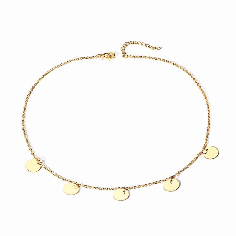 Elegant Small Sequined Round Pendants Gold Color Stainless Steel Jewelry Short Chains Chram Clavicle Necklaces For Women Chocker