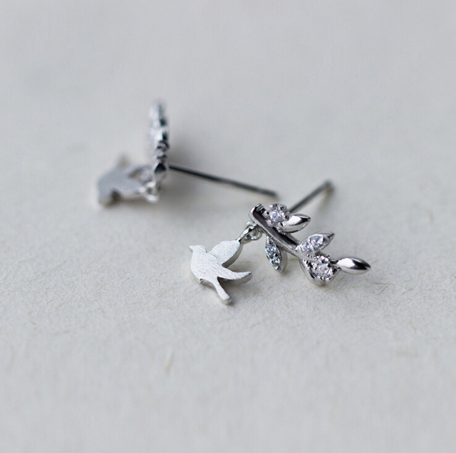 925 Sterling Silver Bird Branch Leaves Cz Post Stud Earrings Women A1470