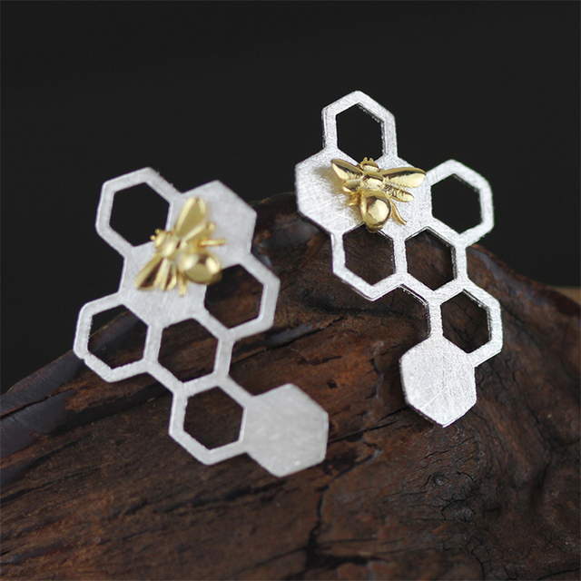 Unique Handmade Jewelry Special Honeycomb Earrings Genuine 925 Sterling Silver New Women Accessories  boucle d'oreille joias