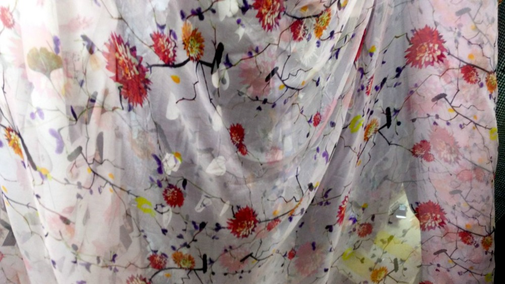 Telas 3 Meter Pink Flowers Print Chiffon Fabric For Sewing Voile Lace High Summer Dress 100% Mulberry Silk Fabric Scarf Textile