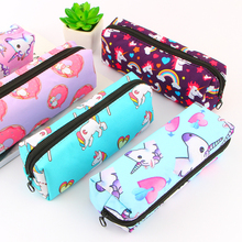 где купить Unicorn Pencil Case Canvas School Supplies Stationery Gift Students Cute Pencil Box Pencil Bag Stationery Office School Supplies дешево