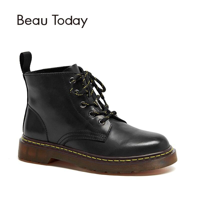 Caviglia Inverno Genuino brown Delle Cuoio Beautoday Lace brownish Scarpe  Marca Signora Rotonda Mucca Di Donne ... e576178b3dc