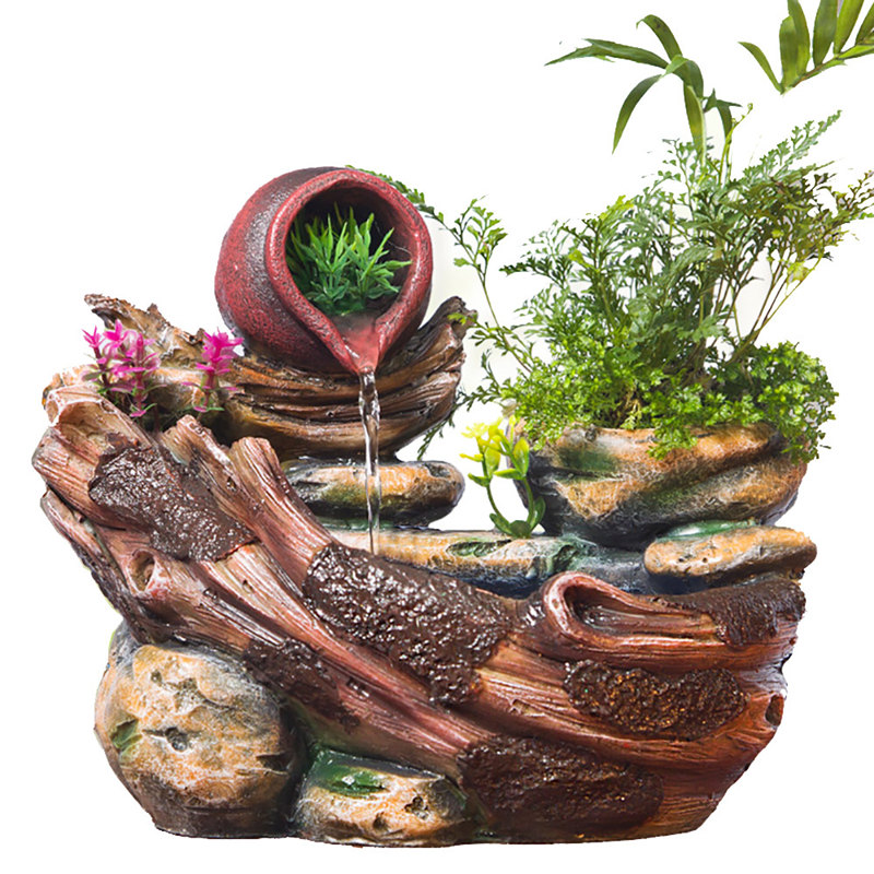 DIY Plants Micro Landscape Indoor Potted Succulents Home Furnishing Rockery Resin Water Fountain Fengshui Office Decoration