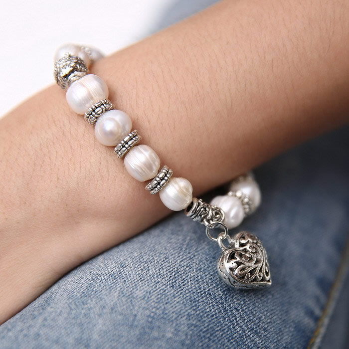 YYW 2017 New Arrival Hot Sale Wedding Jewelry Natural Freshwater Pearl Bracelet Vintage Tibetan Charm Dangle Pearl Bracelets