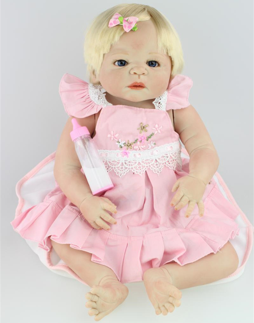 22 inch Reborn Baby Doll Silicone Vinyl Reborn Babies Doll Lifelike Toys Girl for Children Gift Full Body Silicone Reborn Dolls 16 inch silicone reborn babies reborn doll cute full silicone baby doll for children girl birthday gift
